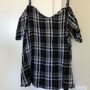 Abound Plaid Cold Shoulder Spaghetti Strap Blouse